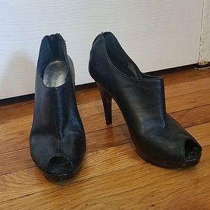Nine West Leather Peeptoe Heels Shooties Booties